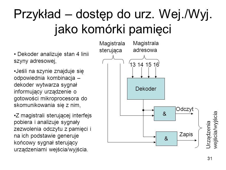 31 Przykład – dostęp do urz. Wej./Wyj. jako komórki pamięci Dekoder & & Magistrala adresowa Magistrala sterująca Dekoder analizuje stan 4 linii szyny