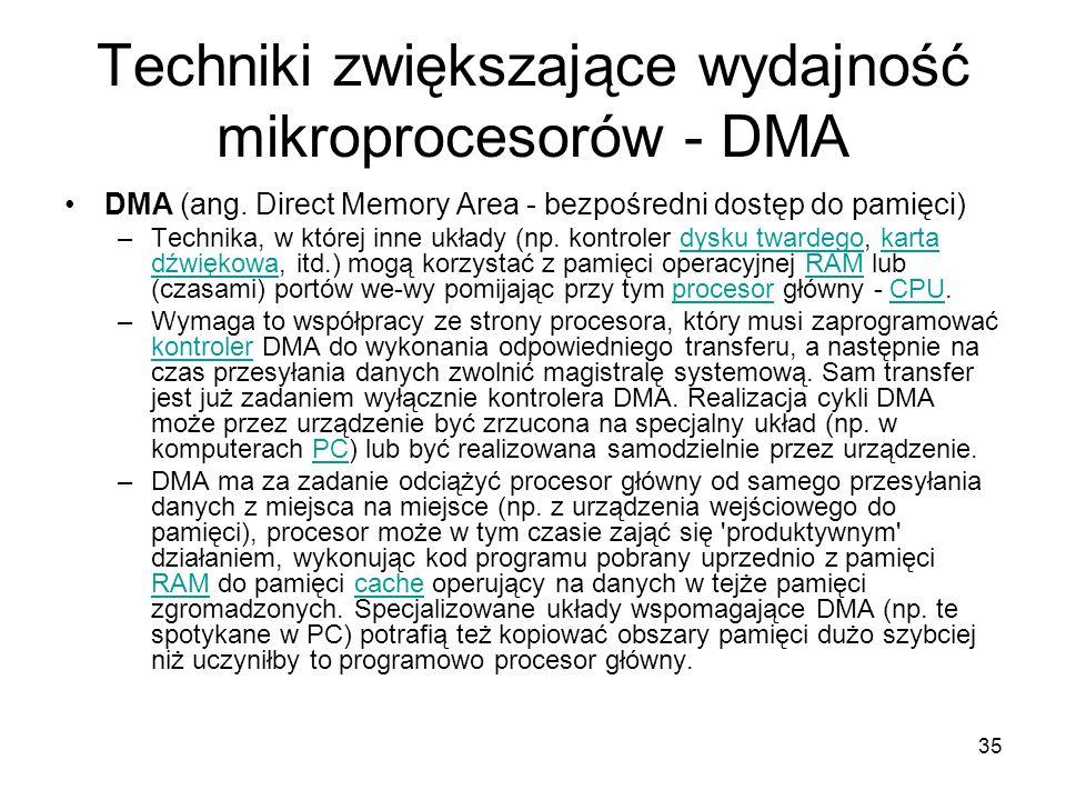 35 Techniki zwiększające wydajność mikroprocesorów - DMA DMA (ang. Direct Memory Area - bezpośredni dostęp do pamięci) –Technika, w której inne układy