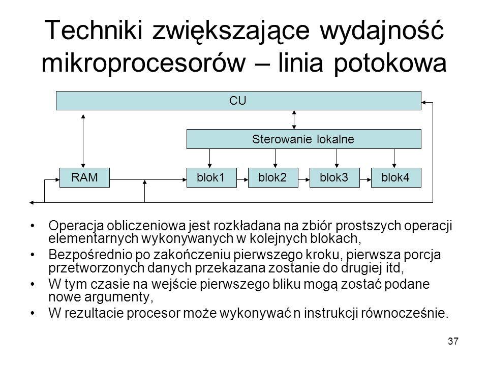 37 Techniki zwiększające wydajność mikroprocesorów – linia potokowa CU Sterowanie lokalne RAM blok3blok2blok1blok4 Operacja obliczeniowa jest rozkłada