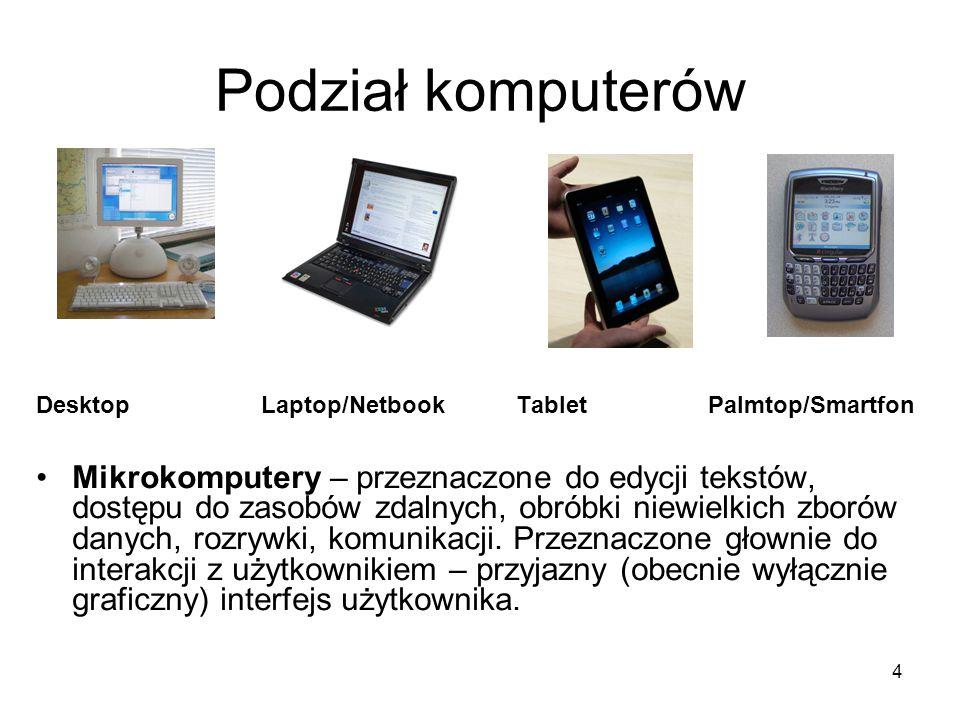 4 Podział komputerów Desktop Laptop/NetbookTabletPalmtop/Smartfon Mikrokomputery – przeznaczone do edycji tekstów, dostępu do zasobów zdalnych, obróbk