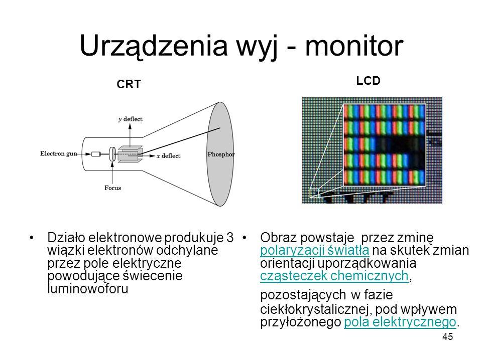 45 Urządzenia wyj - monitor Działo elektronowe produkuje 3 wiązki elektronów odchylane przez pole elektryczne powodujące świecenie luminowoforu CRT LC