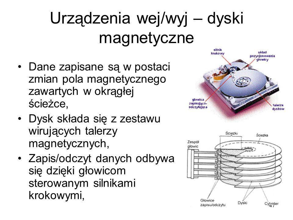 47 Urządzenia wej/wyj – dyski magnetyczne Dane zapisane są w postaci zmian pola magnetycznego zawartych w okrągłej ścieżce, Dysk składa się z zestawu