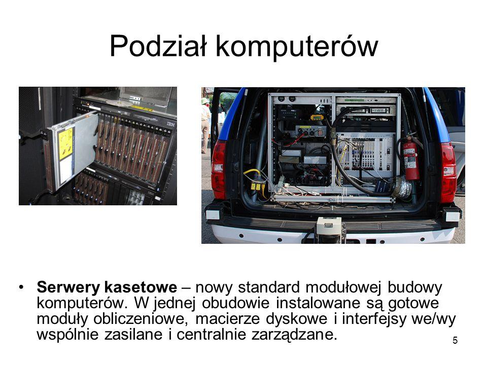 5 Podział komputerów Serwery kasetowe – nowy standard modułowej budowy komputerów. W jednej obudowie instalowane są gotowe moduły obliczeniowe, macier
