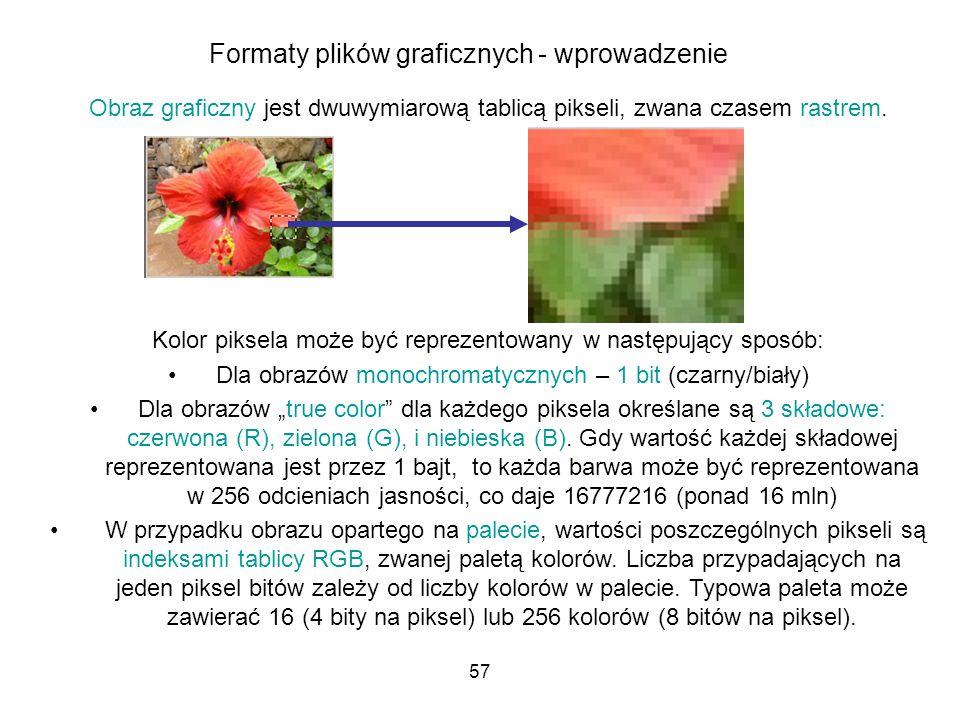 57 Formaty plików graficznych - wprowadzenie Obraz graficzny jest dwuwymiarową tablicą pikseli, zwana czasem rastrem. Kolor piksela może być reprezent