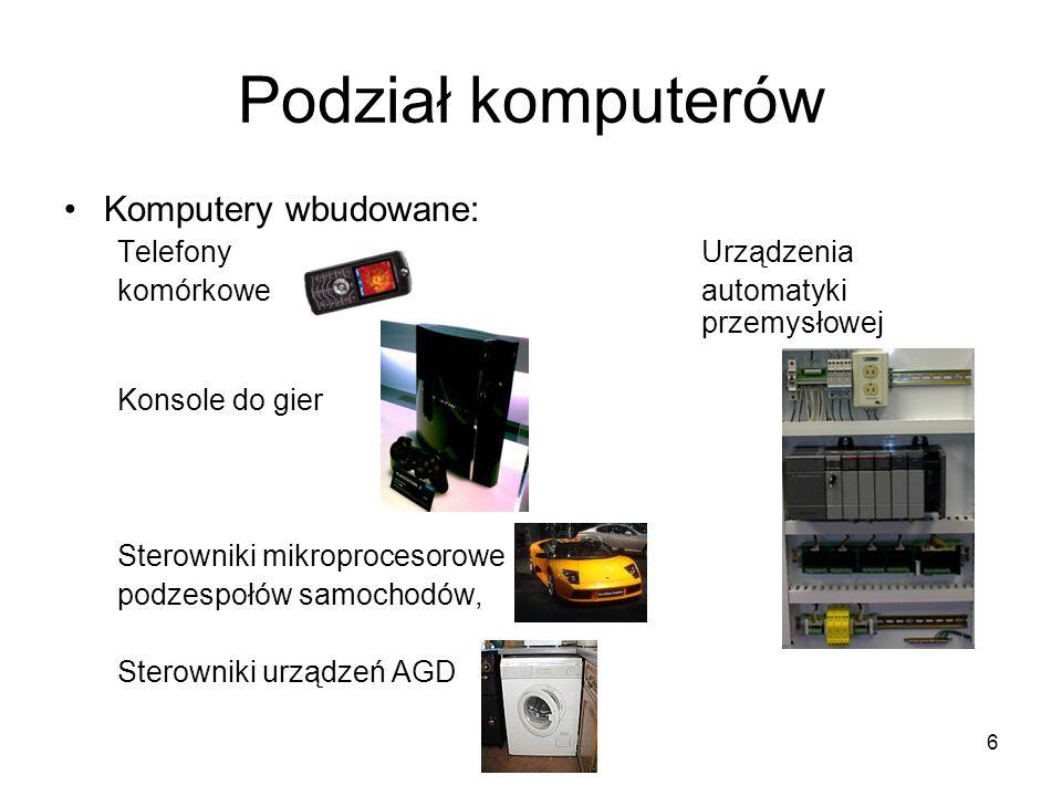 6 Podział komputerów Komputery wbudowane: Telefony Urządzenia komórkowe automatyki przemysłowej Konsole do gier Sterowniki mikroprocesorowe podzespołó
