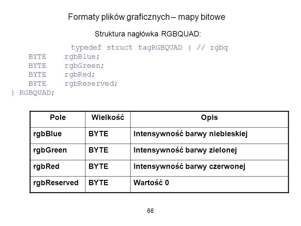 66 Formaty plików graficznych – mapy bitowe Struktura nagłówka RGBQUAD: typedef struct tagRGBQUAD { // rgbq BYTE rgbBlue; BYTE rgbGreen; BYTE rgbRed;