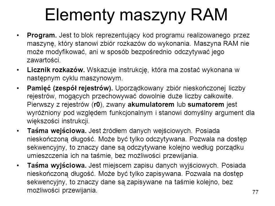 Elementy maszyny RAM Program. Jest to blok reprezentujący kod programu realizowanego przez maszynę, który stanowi zbiór rozkazów do wykonania. Maszyna