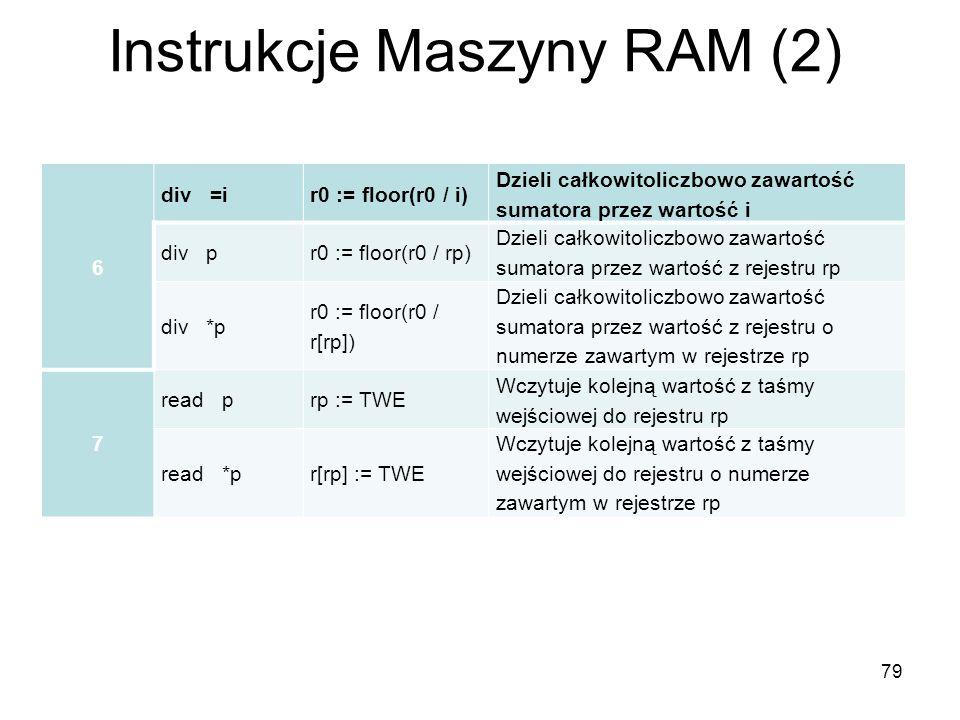 79 Instrukcje Maszyny RAM (2) 6 div =ir0 := floor(r0 / i) Dzieli całkowitoliczbowo zawartość sumatora przez wartość i div pr0 := floor(r0 / rp) Dzieli