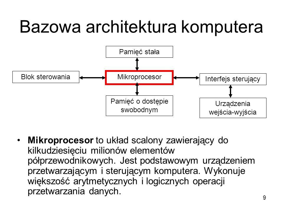 9 Bazowa architektura komputera Mikroprocesor to układ scalony zawierający do kilkudziesięciu milionów elementów półprzewodnikowych. Jest podstawowym