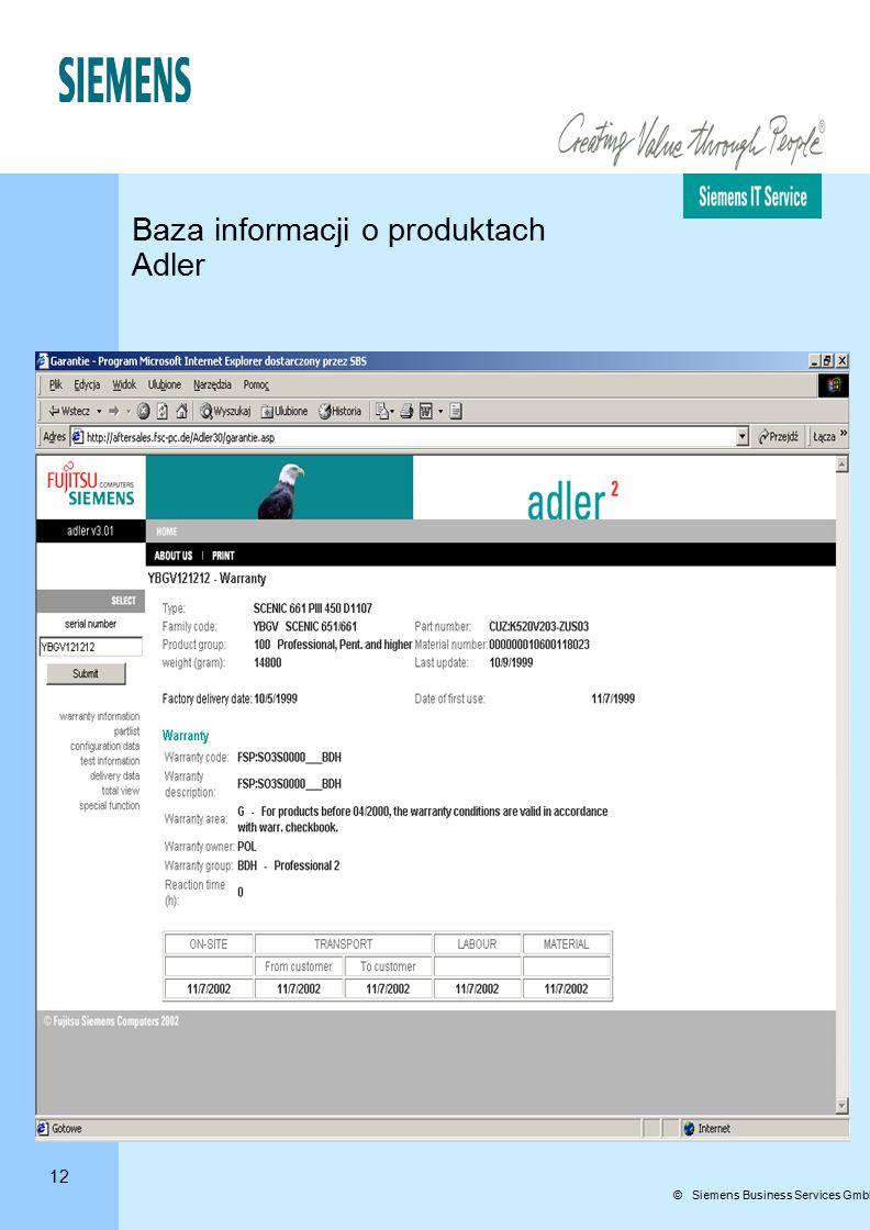 12 © Siemens Business Services GmbH & Co. OHG Baza informacji o produktach Adler