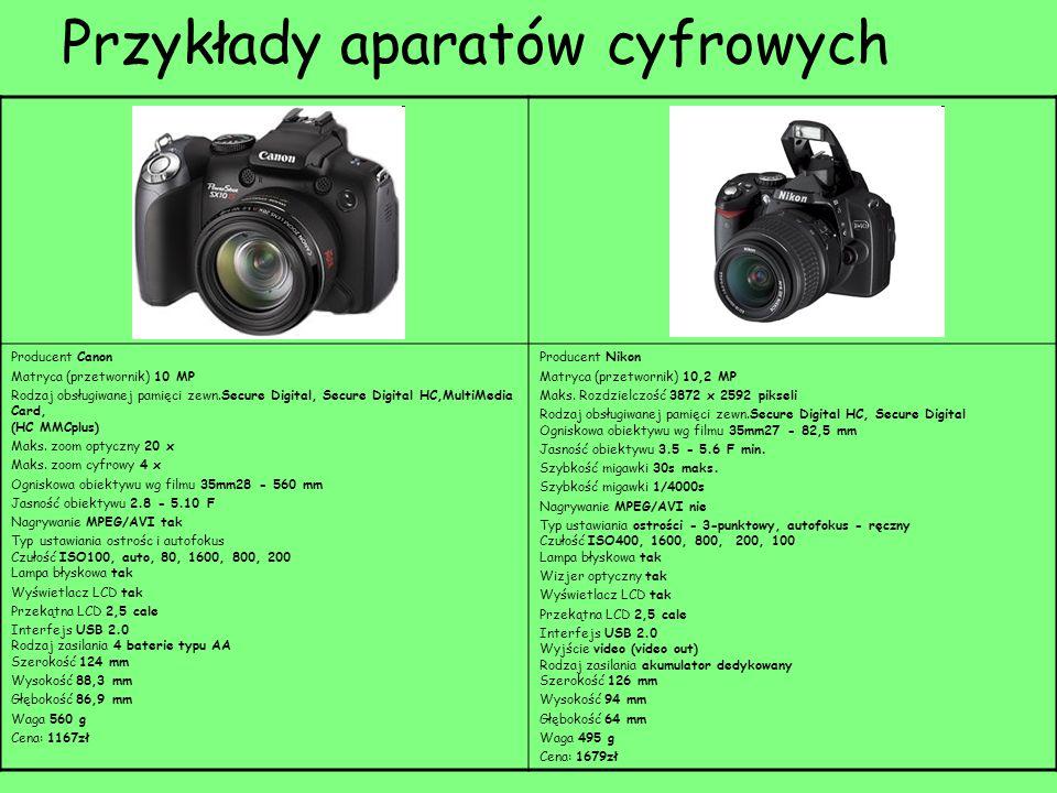 Przykłady aparatów cyfrowych Producent Canon Matryca (przetwornik) 10 MP Rodzaj obsługiwanej pamięci zewn.Secure Digital, Secure Digital HC,MultiMedia Card, (HC MMCplus) Maks.