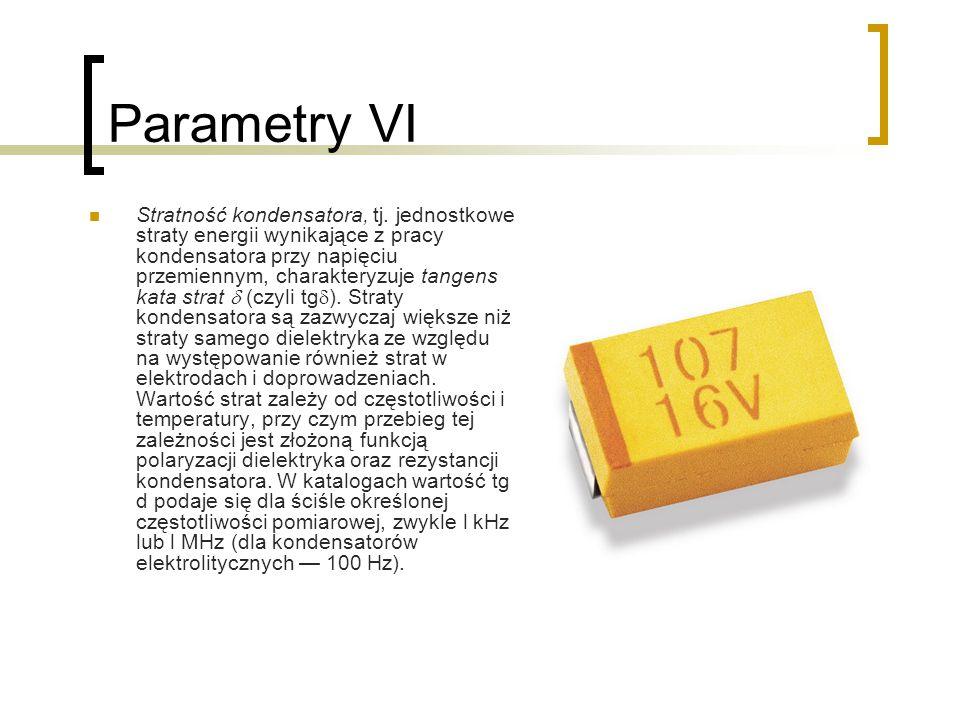 Parametry VI Stratność kondensatora, tj. jednostkowe straty energii wynikające z pracy kondensatora przy napięciu przemiennym, charakteryzuje tangens