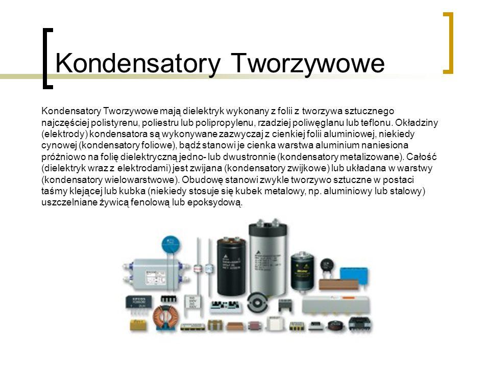 Kondensatory Tworzywowe Kondensatory Tworzywowe mają dielektryk wykonany z folii z tworzywa sztucznego najczęściej polistyrenu, poliestru lub polipropylenu, rzadziej poliwęglanu lub teflonu.