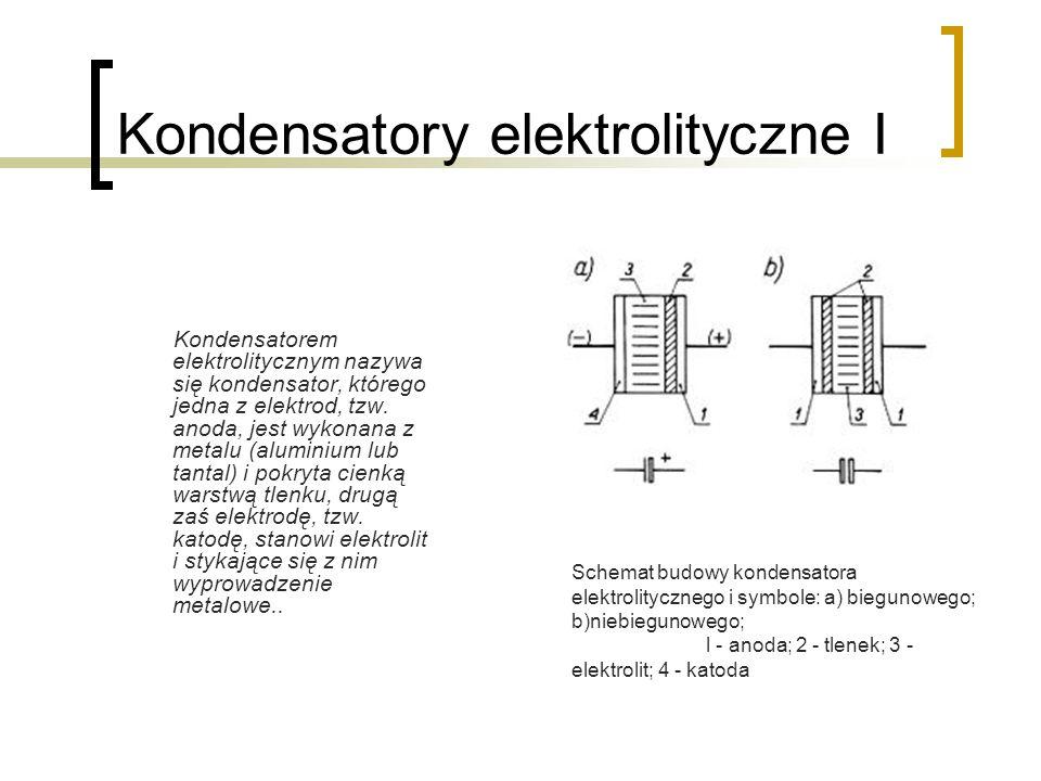 Kondensatory elektrolityczne I Kondensatorem elektrolitycznym nazywa się kondensator, którego jedna z elektrod, tzw. anoda, jest wykonana z metalu (al