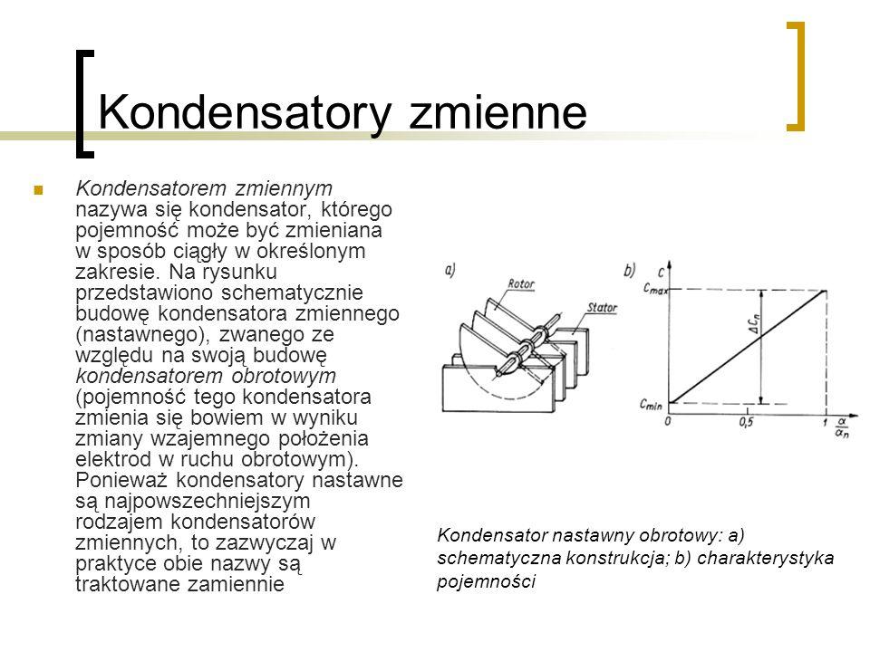 Kondensatory zmienne Kondensatorem zmiennym nazywa się kondensator, którego pojemność może być zmieniana w sposób ciągły w określonym zakresie. Na rys