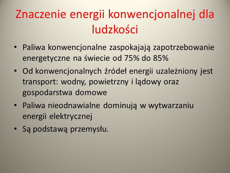 Znaczenie energii konwencjonalnej dla ludzkości Paliwa konwencjonalne zaspokajają zapotrzebowanie energetyczne na świecie od 75% do 85% Od konwencjona