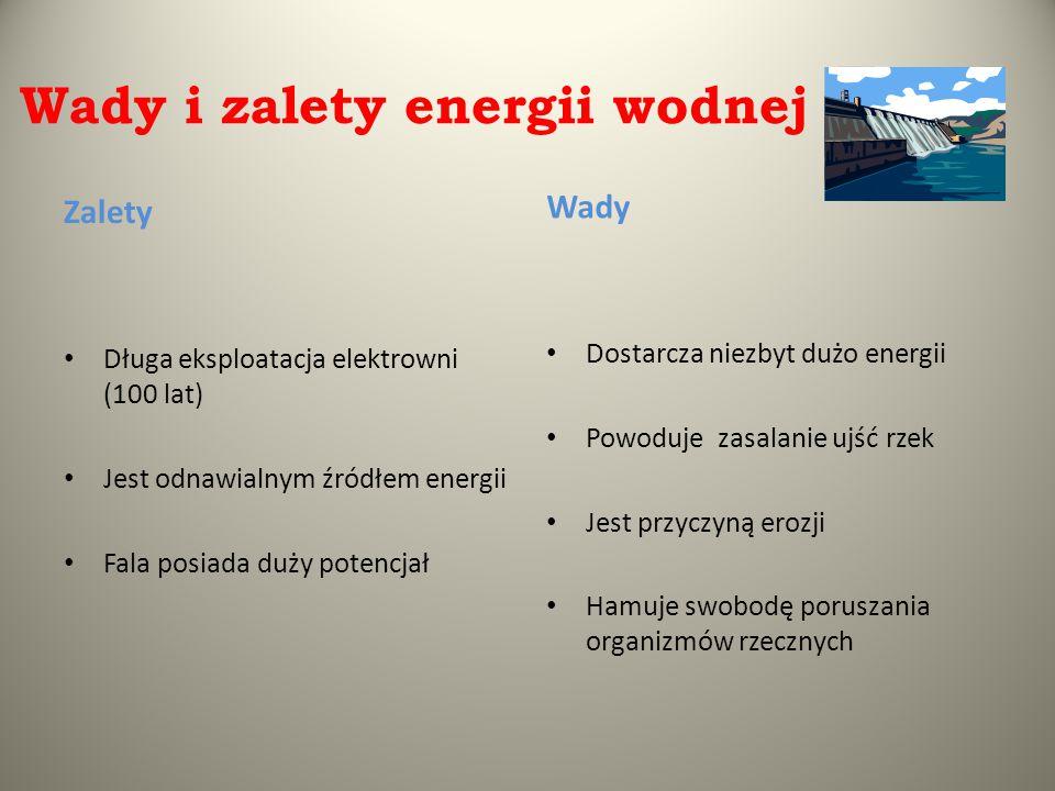Wady i zalety energii wodnej Zalety Długa eksploatacja elektrowni (100 lat) Jest odnawialnym źródłem energii Fala posiada duży potencjał Wady Dostarcz