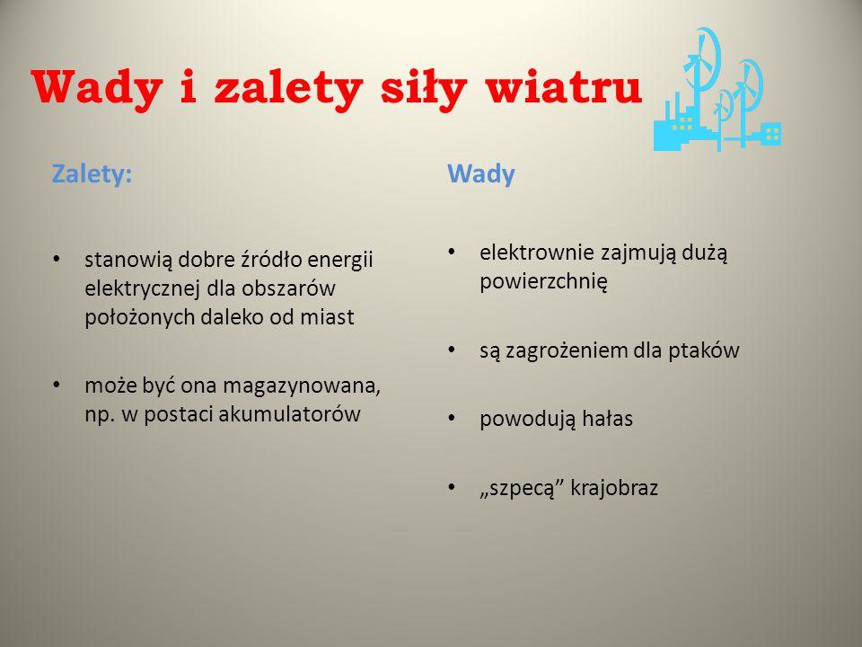Wady i zalety siły wiatru Zalety: stanowią dobre źródło energii elektrycznej dla obszarów położonych daleko od miast może być ona magazynowana, np. w
