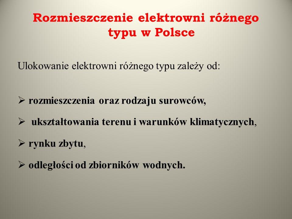 Rozmieszczenie elektrowni różnego typu w Polsce Ulokowanie elektrowni różnego typu zależy od:  rozmieszczenia oraz rodzaju surowców,  ukształtowania