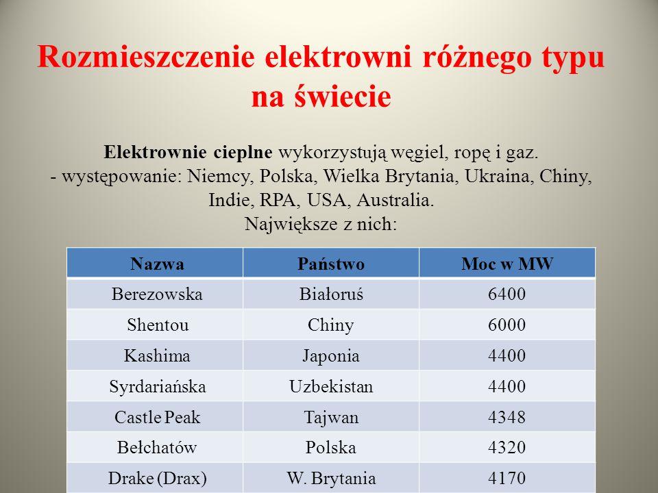 Rozmieszczenie elektrowni różnego typu na świecie Elektrownie cieplne wykorzyst u ją węgiel, ropę i gaz. - występowanie: Niemcy, Polska, Wielka Brytan