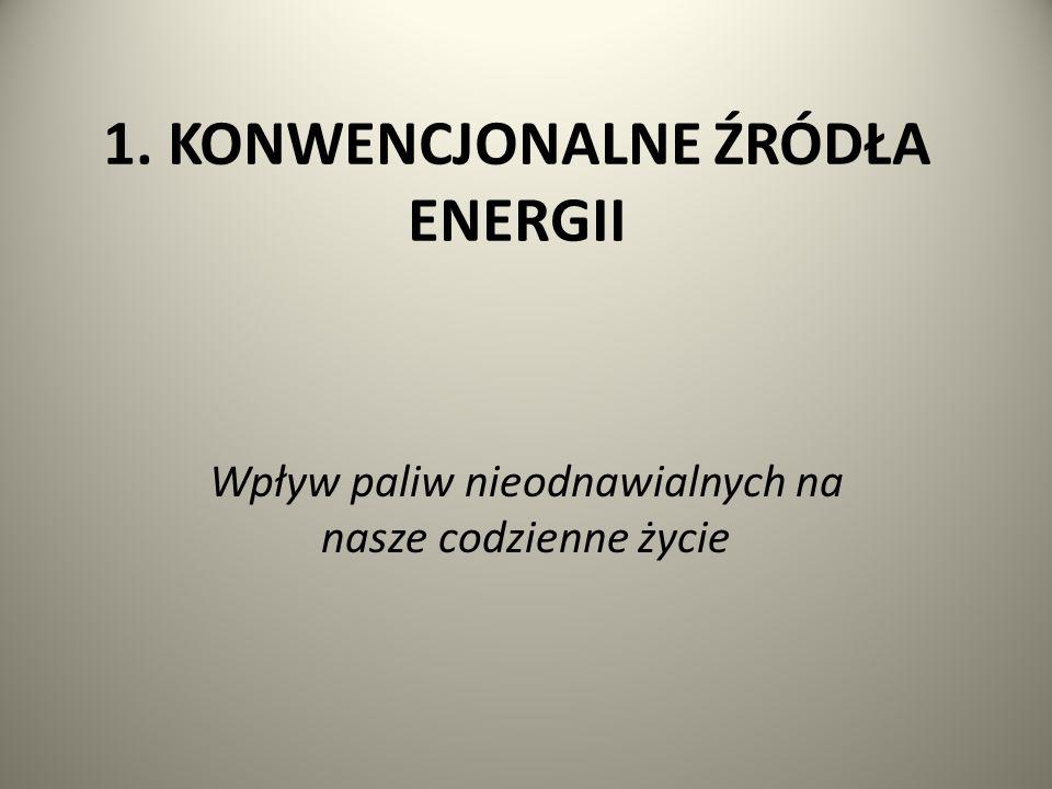 1. KONWENCJONALNE ŹRÓDŁA ENERGII Wpływ paliw nieodnawialnych na nasze codzienne życie