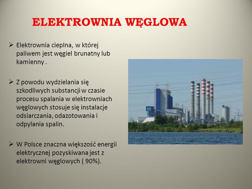 ELEKTROWNIA WĘGLOWA  Elektrownia cieplna, w której paliwem jest węgiel brunatny lub kamienny.  Z powodu wydzielania się szkodliwych substancji w cza