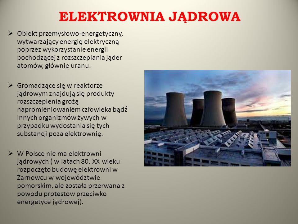 ELEKTROWNIA JĄDROWA  Obiekt przemysłowo-energetyczny, wytwarzający energię elektryczną poprzez wykorzystanie energii pochodzącej z rozszczepiania jąd