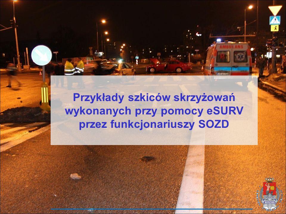 Przykłady szkiców skrzyżowań wykonanych przy pomocy eSURV przez funkcjonariuszy SOZD