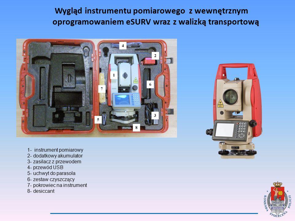 Wygląd instrumentu pomiarowego z wewnętrznym oprogramowaniem eSURV wraz z walizką transportową 1- instrument pomiarowy 2- dodatkowy akumulator 3- zasilacz z przewodem 4- przewód USB 5- uchwyt do parasola 6- zestaw czyszczący 7- pokrowiec na instrument 8- desiccant