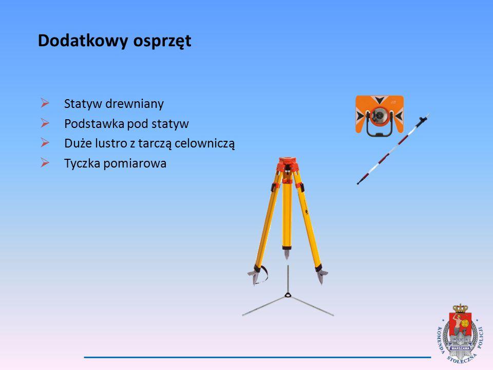 Dodatkowy osprzęt  Statyw drewniany  Podstawka pod statyw  Duże lustro z tarczą celowniczą  Tyczka pomiarowa