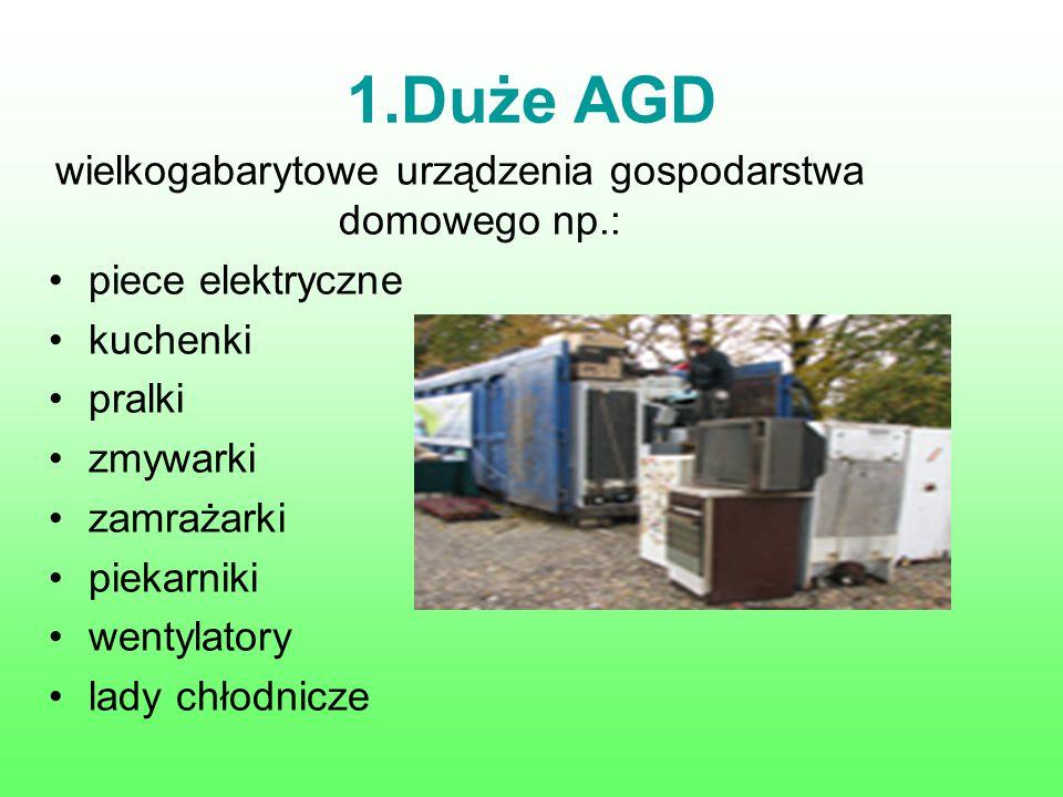 1.Duże AGD wielkogabarytowe urządzenia gospodarstwa domowego np.: piece elektryczne kuchenki pralki zmywarki zamrażarki piekarniki wentylatory lady ch