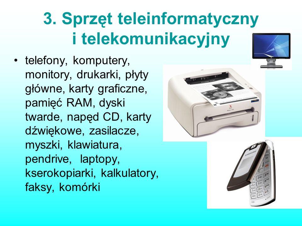 3. Sprzęt teleinformatyczny i telekomunikacyjny telefony, komputery, monitory, drukarki, płyty główne, karty graficzne, pamięć RAM, dyski twarde, napę