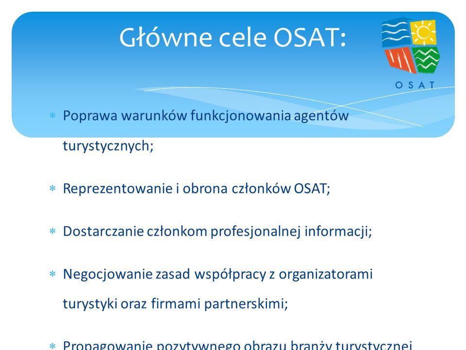  Poprawa warunków funkcjonowania agentów turystycznych;  Reprezentowanie i obrona członków OSAT;  Dostarczanie członkom profesjonalnej informacji;  Negocjowanie zasad współpracy z organizatorami turystyki oraz firmami partnerskimi;  Propagowanie pozytywnego obrazu branży turystycznej w mediach;  Eliminowanie złych praktyk w turystyce i propagowanie właściwych wzorców.