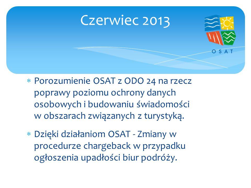  Interwencja OSAT w sprawie nowego organizatora Greckie Wakacje  Rozmowy wyjaśniające z Flash Tours  Rozmowy z Net Holiday  Interwencja OSAT w sprawie KRD Lipiec 2013