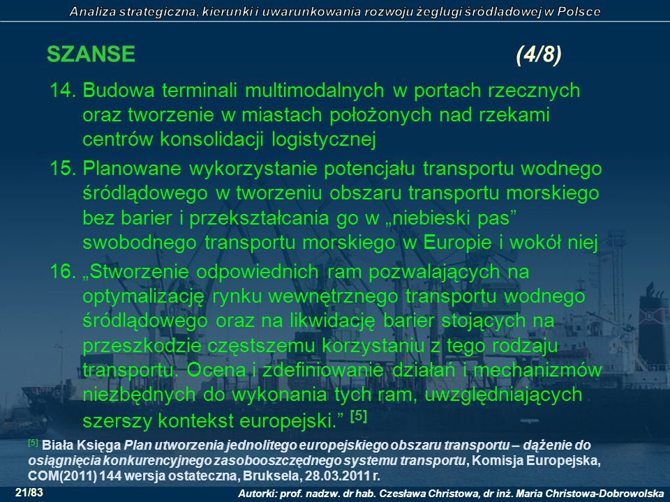 Autorki: prof. nadzw. dr hab. Czesława Christowa, dr inż. Maria Christowa-Dobrowolska 21/83 SZANSE(4/8) 14.Budowa terminali multimodalnych w portach r