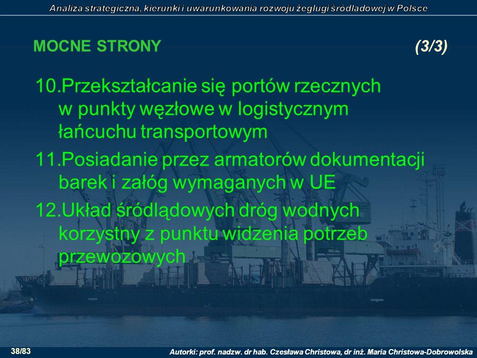 Autorki: prof. nadzw. dr hab. Czesława Christowa, dr inż. Maria Christowa-Dobrowolska 38/83 MOCNE STRONY(3/3) 10.Przekształcanie się portów rzecznych