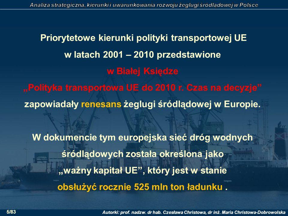 Autorki: prof. nadzw. dr hab. Czesława Christowa, dr inż. Maria Christowa-Dobrowolska 5/83 Priorytetowe kierunki polityki transportowej UE w latach 20