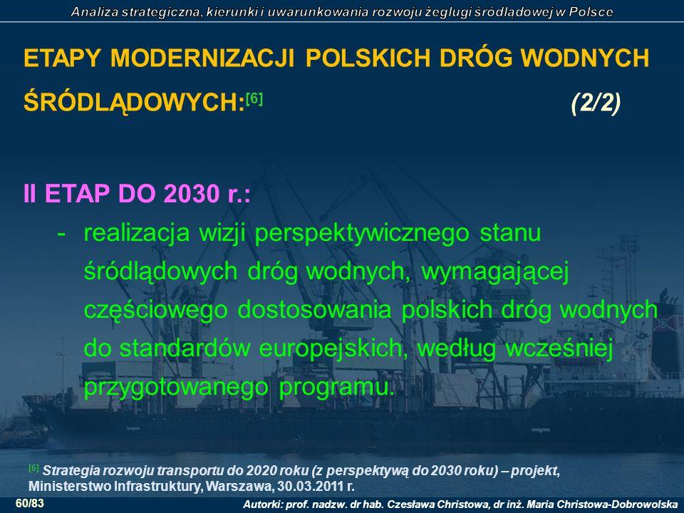 Autorki: prof. nadzw. dr hab. Czesława Christowa, dr inż. Maria Christowa-Dobrowolska 60/83 ETAPY MODERNIZACJI POLSKICH DRÓG WODNYCH ŚRÓDLĄDOWYCH: [6]