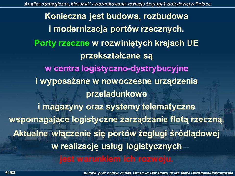 Autorki: prof. nadzw. dr hab. Czesława Christowa, dr inż. Maria Christowa-Dobrowolska 61/83 Konieczna jest budowa, rozbudowa i modernizacja portów rze
