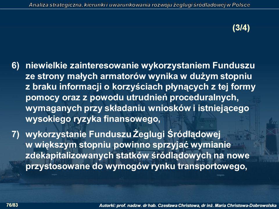 Autorki: prof. nadzw. dr hab. Czesława Christowa, dr inż. Maria Christowa-Dobrowolska 76/83 (3/4) 6)niewielkie zainteresowanie wykorzystaniem Funduszu