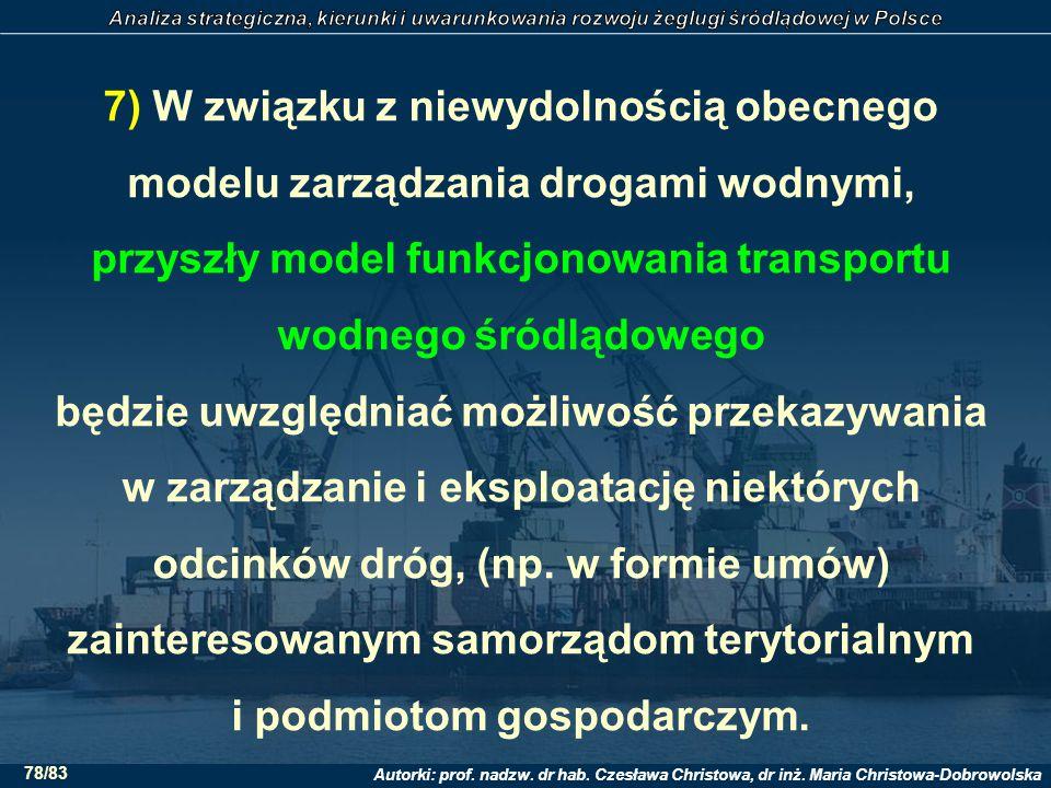 Autorki: prof. nadzw. dr hab. Czesława Christowa, dr inż. Maria Christowa-Dobrowolska 78/83 7) W związku z niewydolnością obecnego modelu zarządzania