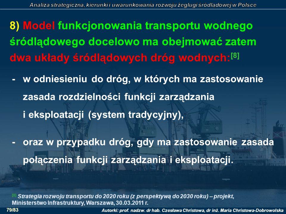 Autorki: prof. nadzw. dr hab. Czesława Christowa, dr inż. Maria Christowa-Dobrowolska 79/83 8) Model funkcjonowania transportu wodnego śródlądowego do