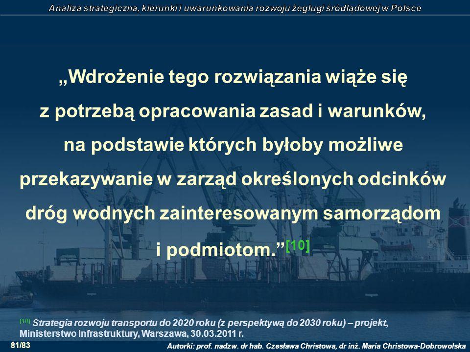 """Autorki: prof. nadzw. dr hab. Czesława Christowa, dr inż. Maria Christowa-Dobrowolska 81/83 """"Wdrożenie tego rozwiązania wiąże się z potrzebą opracowan"""