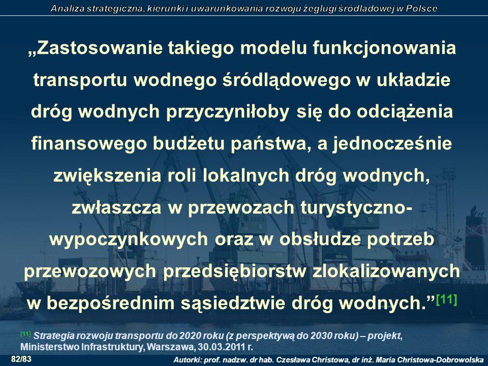 """Autorki: prof. nadzw. dr hab. Czesława Christowa, dr inż. Maria Christowa-Dobrowolska 82/83 """"Zastosowanie takiego modelu funkcjonowania transportu wod"""