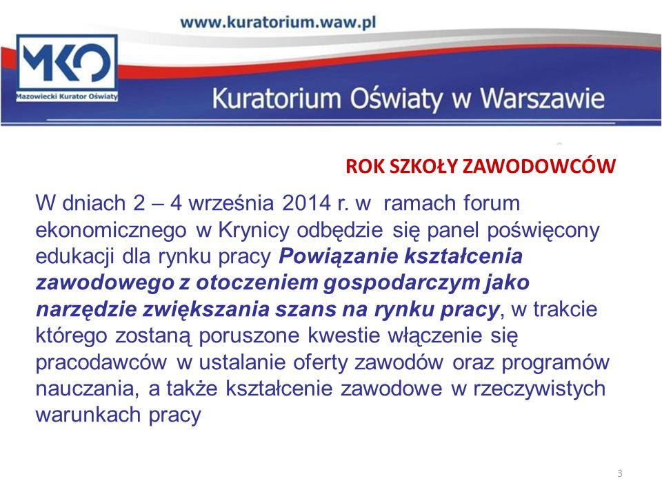 3 ROK SZKOŁY ZAWODOWCÓW W dniach 2 – 4 września 2014 r.