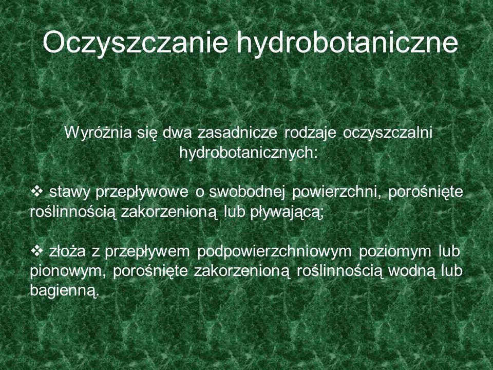 Oczyszczanie hydrobotaniczne Wyróżnia się dwa zasadnicze rodzaje oczyszczalni hydrobotanicznych:  stawy przepływowe o swobodnej powierzchni, porośnię