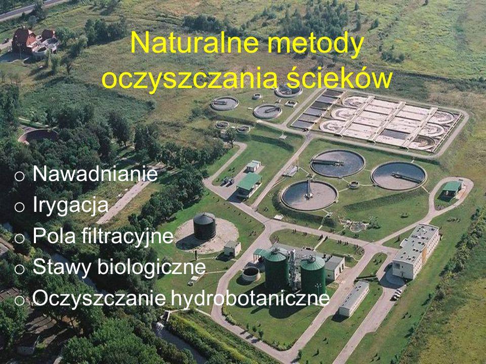Naturalne metody oczyszczania ścieków o Nawadnianie o Irygacja o Pola filtracyjne o Stawy biologiczne o Oczyszczanie hydrobotaniczne
