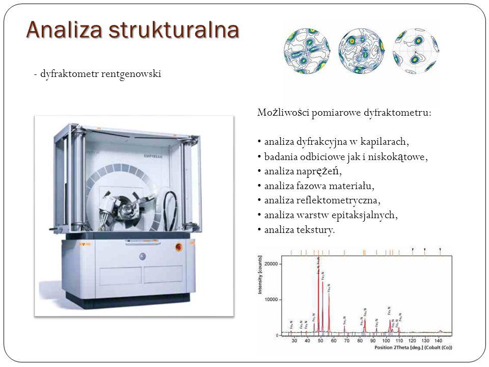 - dyfraktometr rentgenowski Mo ż liwo ś ci pomiarowe dyfraktometru: analiza dyfrakcyjna w kapilarach, badania odbiciowe jak i niskok ą towe, analiza napr ęż e ń, analiza fazowa materiału, analiza reflektometryczna, analiza warstw epitaksjalnych, analiza tekstury.