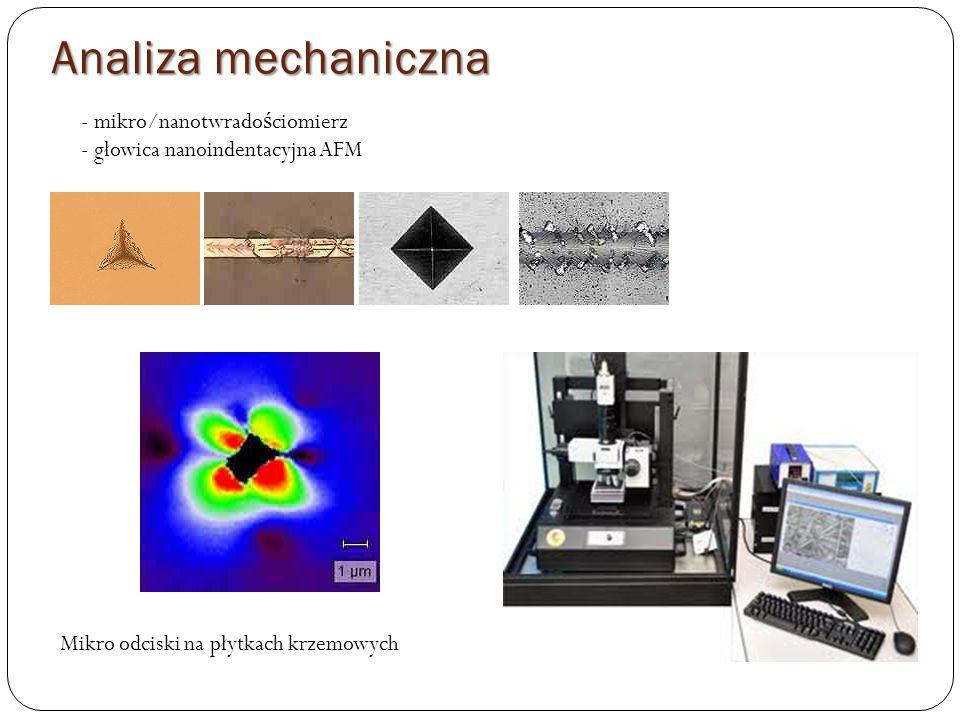 - mikro/nanotwrado ś ciomierz - głowica nanoindentacyjna AFM Mikro odciski na płytkach krzemowych