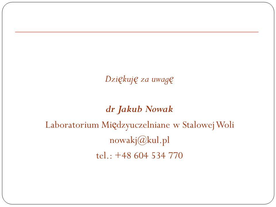 Dzi ę kuj ę za uwag ę dr Jakub Nowak Laboratorium Mi ę dzyuczelniane w Stalowej Woli nowakj@kul.pl tel.: +48 604 534 770